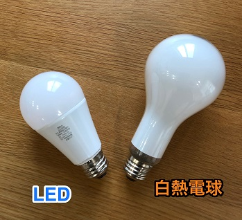 LEDと白熱電球