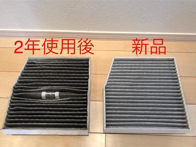 ベンツAクラス エアコンフィルター 使用前 使用後
