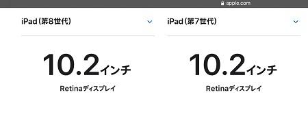 iPad第8世代 iPad10.2インチ 画面サイズ 液晶サイズ iPad第7世代比較
